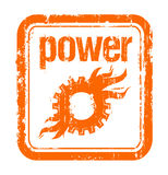 Power rubber stamp. Industrial power rubber stamp with mechanics Stock Photo
