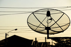 Power of satellite. A satellite disk can help me to communicate around the world Stock Photo