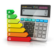 Power saving and economy concept. Creative abstract power saving and home budget economy business concept: color energy efficiency rating comparison scale and Royalty Free Stock Photography