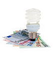 Power saving energy spiral lightbulb. Stock Photo