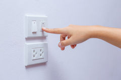 Power saving. Switch off power hand button Stock Images