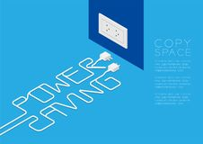 Power Saving text made from plug cable white color, Environment concept design illustration Royalty Free Stock Photos