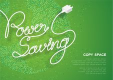 Power Saving text made from plug cable white color, Environment concept design illustration. Isolated on green gradient geometric world square pattern stock illustration