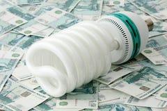 Power saving up bulb Stock Photos