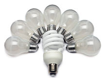 Power saving up electric lamp Royalty Free Stock Images