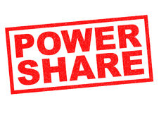 POWER SHARE. Red Rubber Stamp over a white background Stock Photography