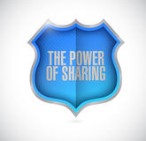 The power of sharing shield illustration Royalty Free Stock Photo