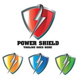Power Shield Thunderbolt Concept Logo Design. This logo with the thunderbolt in front of the shield can be used in various ways for Electronics, Fitness Stock Image