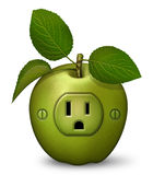 Power Snack. Digital illustration of a green apple with a power outlet Royalty Free Stock Image