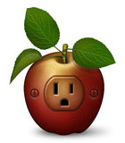 Power Snack. Digital illustration of a red apple with a power outlet Royalty Free Stock Photo