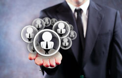 The Power Of Social Media. Businessman Holding Virtual Social Media Icons on Outstreched Hand stock images