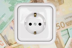 Power Socket on Banknotes Royalty Free Stock Images
