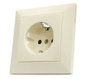 Power socket. Beige outlet on a white background closeup stock photography