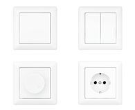 Power Socket, Dimmer and Light Switches set Stock Images