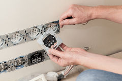 Power socket installing Royalty Free Stock Images