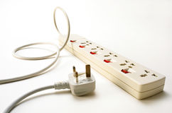 Power socket and plug. Electrical adaptor for power socket unplugged stock photography