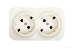 Power socket on white Royalty Free Stock Images