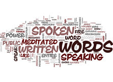 The Power Of The Spoken Word Text Background Word Cloud Concept stock illustration
