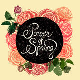 Power of spring - flowers quote royalty free stock image