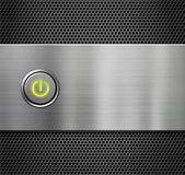Power or start button on metal plate Stock Image