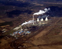 Power station. Aerial of chimneys of the Tusimice power station Royalty Free Stock Photography