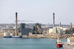 Power station. Malta power station in marsa emmiting fumes harming the enviroment Royalty Free Stock Photos
