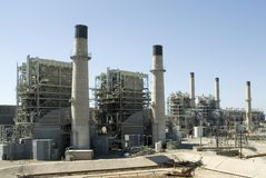 Power station. Power generating station with smokestacks Stock Photo