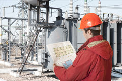 Power station. The engineer on power station Royalty Free Stock Image