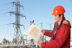 Power station. The engineer on power station Stock Image