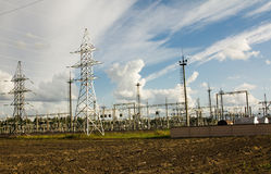 Power station. Electric substation in which work with electric energy Royalty Free Stock Images
