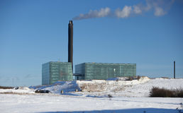 Power station. Photo of power station in winter time Royalty Free Stock Photos