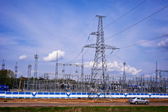 Power Station. Electricity Substation and High voltage electrical power lines Stock Images