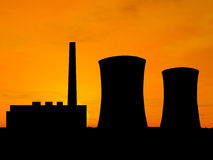 Power station. Over orange sky (see more in my portfolio Royalty Free Stock Photography