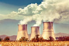 Power station. And pollution of nature Royalty Free Stock Photography