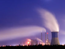 Power station 5. Power station in night Stock Photos