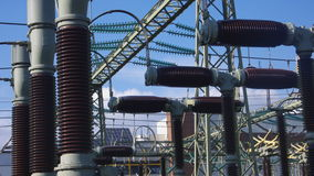 Power Station. Detail of a power station with isolators Royalty Free Stock Images