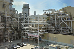 Power Station. Picture of Combined cycle power station during day time under bright sunlight Royalty Free Stock Image