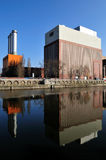 Power station. With three chimneys an at a canal Royalty Free Stock Photo