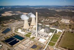 Power Station:Aerial View. Power Station: Aerial View with Cooling Tower and Chimney Stacks Royalty Free Stock Photography