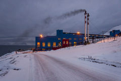 Power station in Barentsburg - Russian village on Spitsbergen Royalty Free Stock Photo