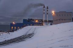 Power station in Barentsburg - Russian village on Spitsbergen Stock Photos