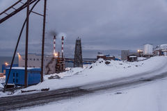 Power station in Barentsburg - Russian village on Spitsbergen Royalty Free Stock Photos