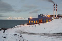 Power station in Barentsburg - Russian village on Spitsbergen Royalty Free Stock Image