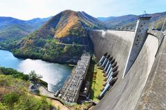 The power station at the Bhumibol Dam in Thailand. The dam is situated on the Ping River and has a capacity of 13,462,000,000 cubic Royalty Free Stock Photo