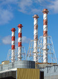 Power station buildings with high industrial pipes vertical view Stock Photography