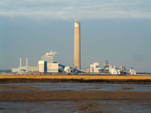 Power Station with chimney. Power station factory chimney Stock Images
