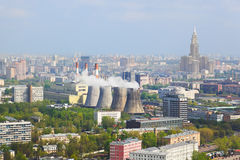 Power station in city Moscow, Russia Royalty Free Stock Photos