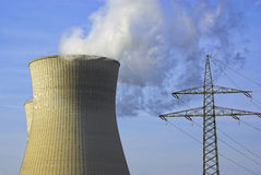 Power Station, Cooling Tower and Power Pole Royalty Free Stock Photos