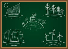 Power station energy doodles. On green table Royalty Free Stock Photo