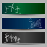 Power station energy doodles. On three banners Stock Photo